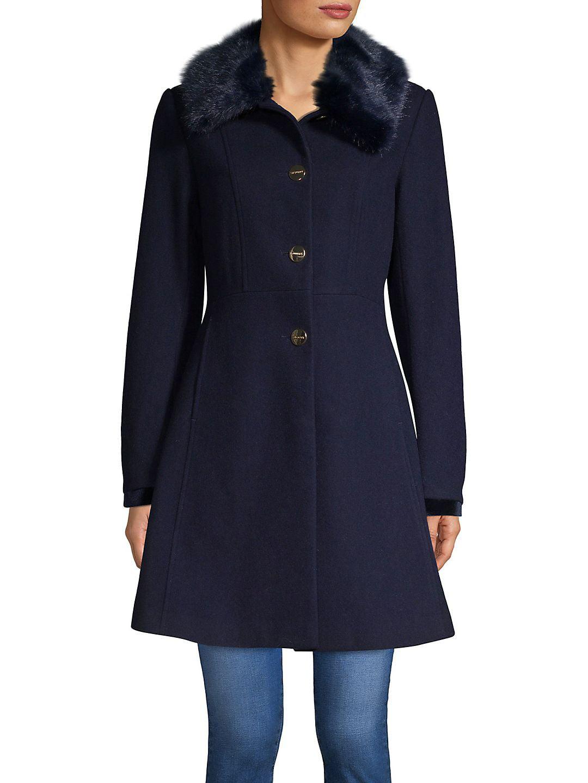 Faux Fur-Trimmed Skirted Coat