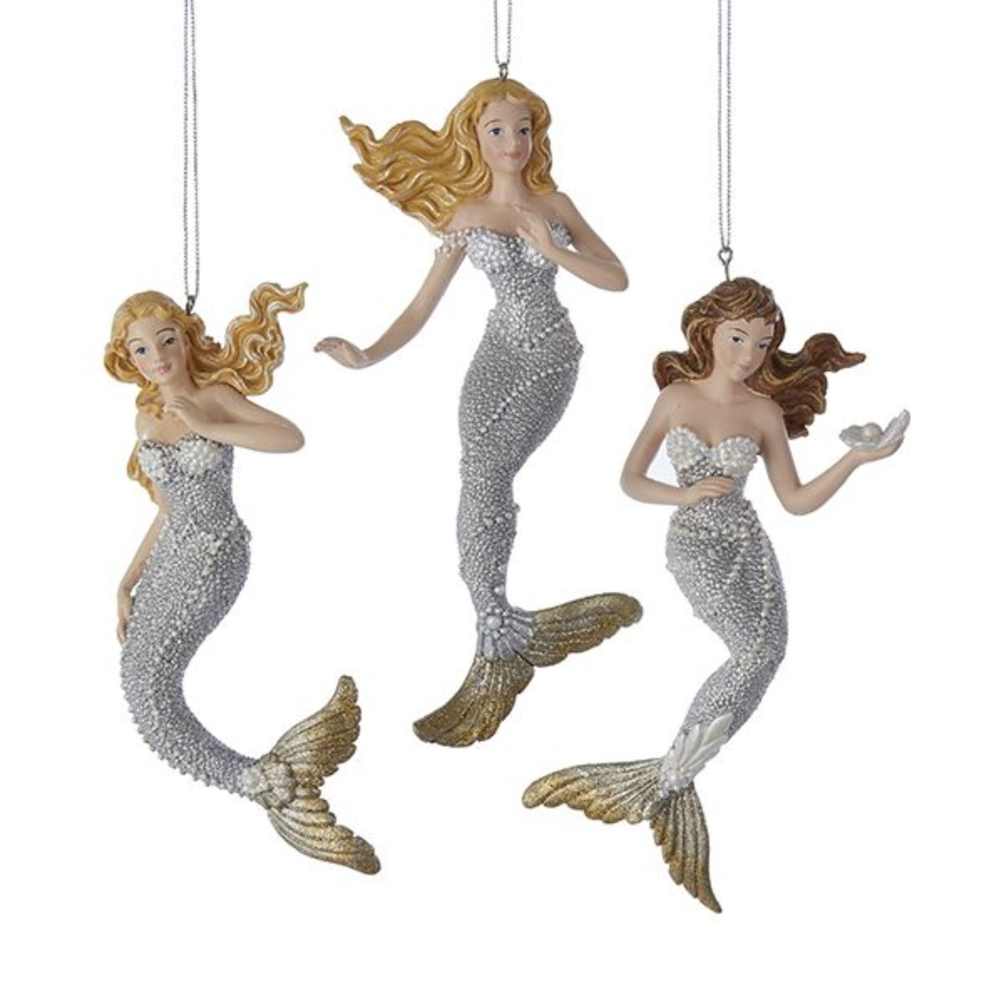 Pack Of 12 Silver And Gold Under The Sea Mermaids Christmas Figure Ornaments 6 25 Walmart Com Walmart Com