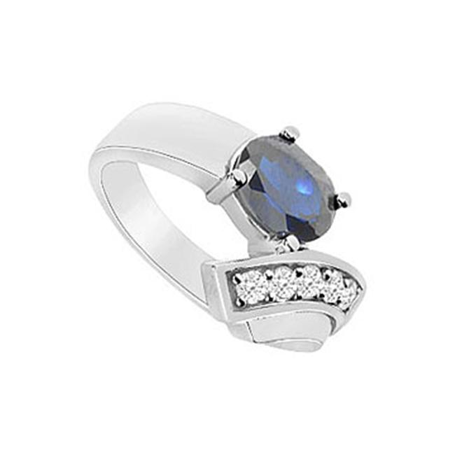 FineJewelryVault UBUK1001W10CZS-118 Diffuse Sapphire and Cubic Zirconia Ring : 10K White Gold - 1. 75 CT TGW - Size: 7