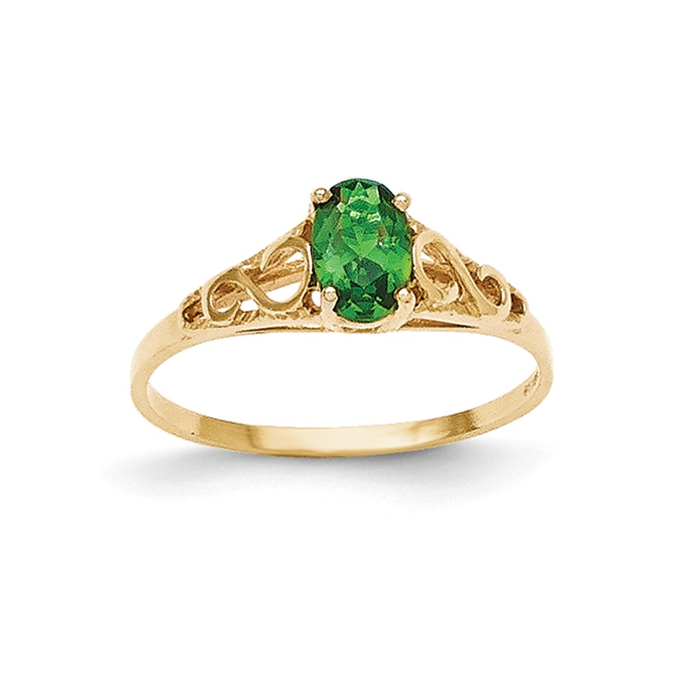 14k Yellow Gold 6x4m Oval Synthetic Emerald Ring.