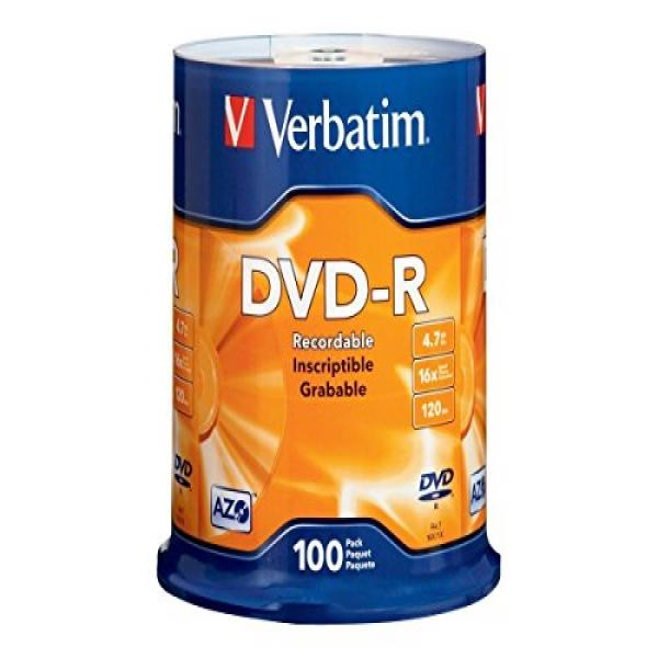 Verbatim 4.7GB up to 16x Branded Recordable Disc DVD-R 100-Disc Spindle 95102