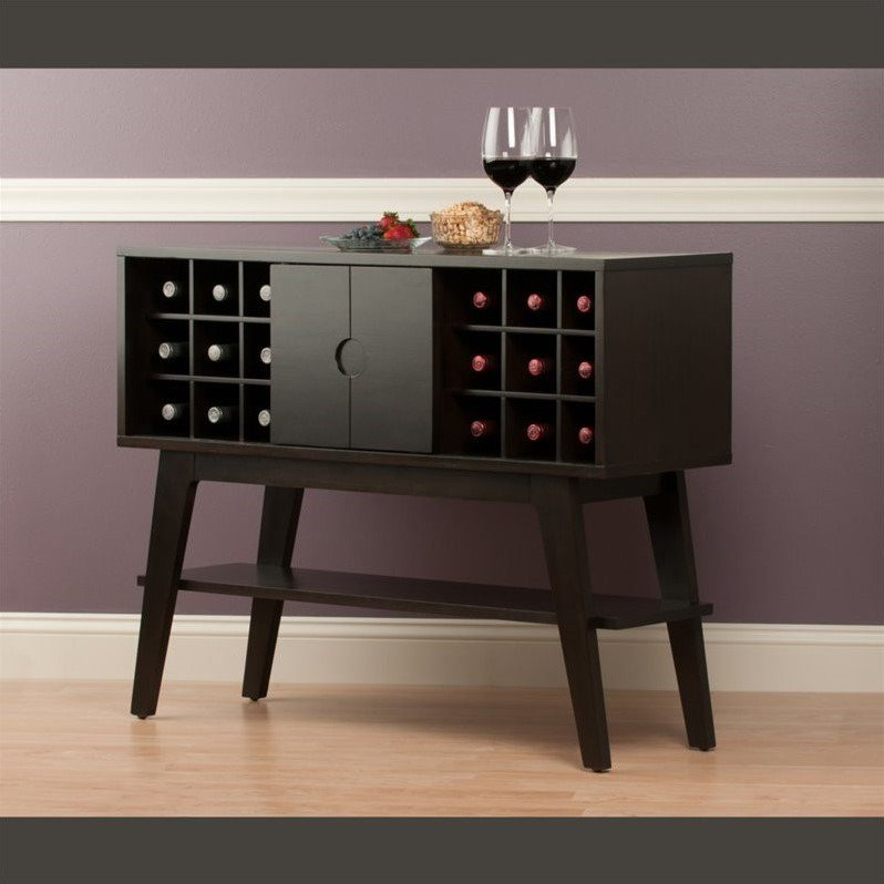 Winsome Monty Wine Rack Console Table In Smoke