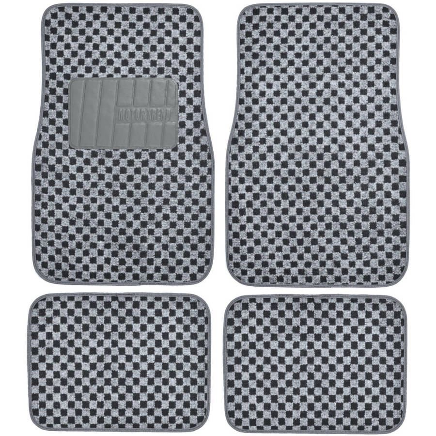 Motor Trend FatRug Checkered Carpet Floor Mats, Gray, Vintage Classic 4pc Set for Car, Truck or SUV