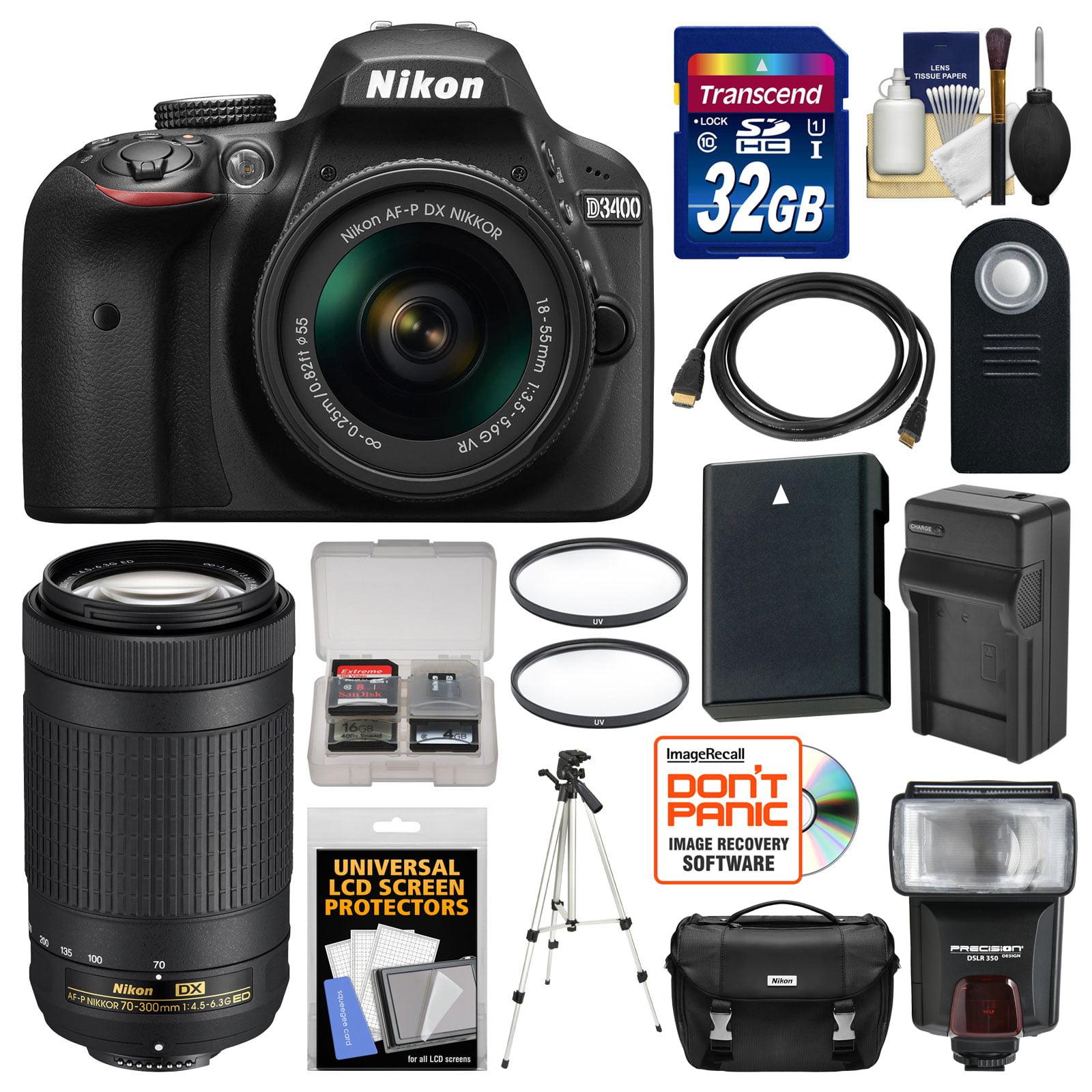 Nikon D3400 Digital SLR Camera & 18-55mm VR & 70-300mm DX AF-P Lenses with 32GB Card + Case + Flash + Battery & Charger + Tripod + Filters + Kit