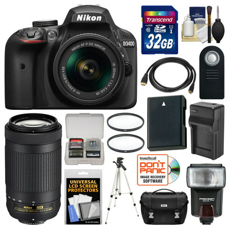 Nikon D3400 Digital SLR Camera & 18-55mm VR & 70-300mm DX AF-P Lenses with 32GB Card + Case + Flash + Battery & Charger + Tripod + Filters +