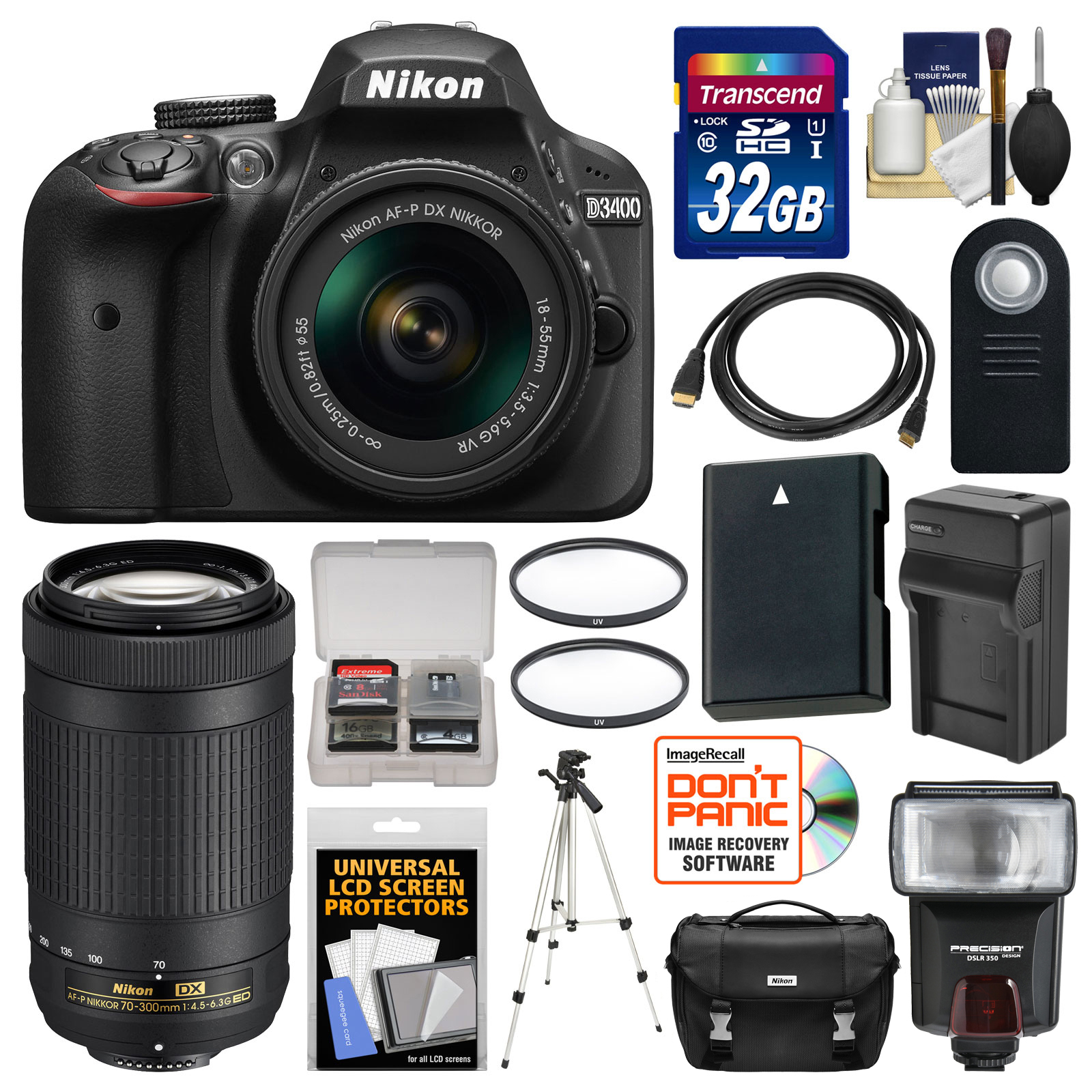 Nikon D3400 Digital SLR Camera & 18-55mm VR & 70-300mm DX AF-P Lenses with 32GB Card + Case + Flash + Battery & Charger + Tripod + Filters + Kit