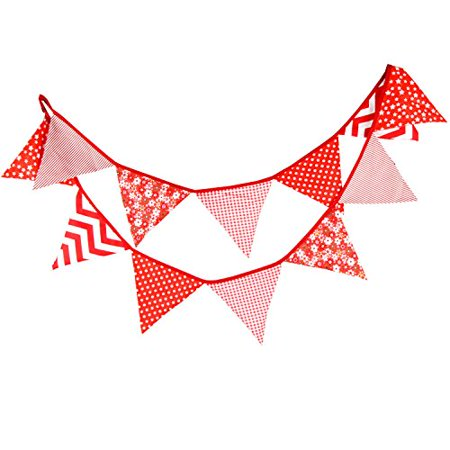 Floral Bunting Fabric Banner Shabby Chic Triangle Pennant Garland Wedding Birthday Party Decoration