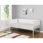twin white upholstered faux leather metal day bed frame with headboard footboard rails