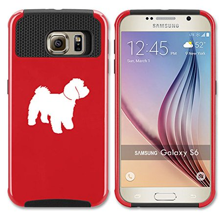 For Samsung Galaxy (S6 Edge) Shockproof Impact Hard Soft Case Cover Maltipoo (Red) ()