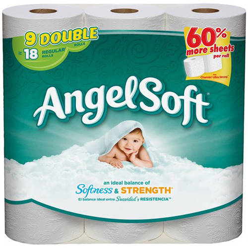 Angel Soft Toilet Paper, 9 Double Rolls, Bath Tissue