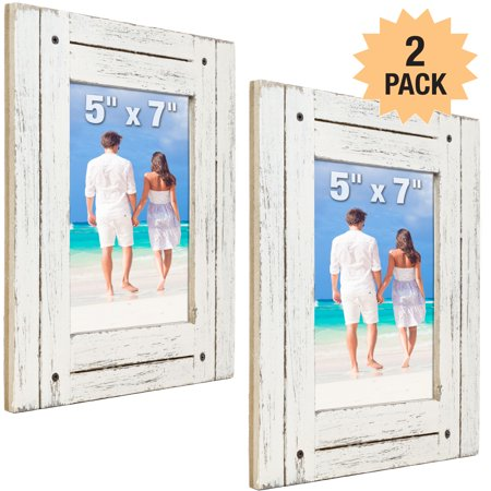 Rustic Shabby Chic White Weathered Distressed Vintage Style Wooden Picture Frame with Self-Stand Easel, Holds a 5