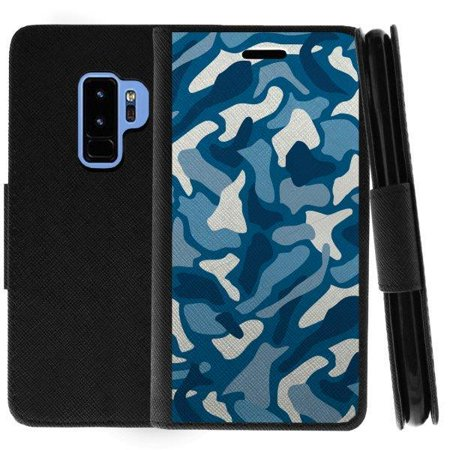 TurtleArmor ® | For Samsung Galaxy S9+ (Plus) G965 [Wallet Case] Leather Cover with Flip Kickstand and Card Slots - Aqua Camouflage