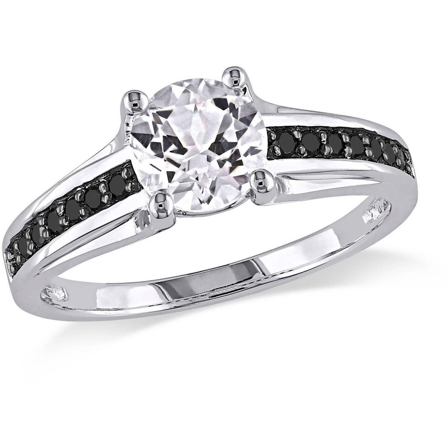1-3/8 Carat T.G.W. Created White Sapphire and 1/7 Carat T.W. Black Diamond Sterling Silver Ring
