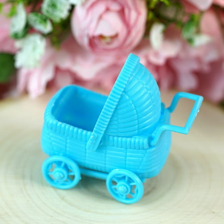 BalsaCircle 12 pcs Plastic Carriage Baby Shower - DIY Favors Party Decorations Crafts Supplies (Blue Zebra Party Supplies)