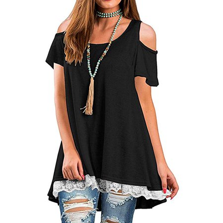 Women's Cold Shoulder Short Sleeve Lace Hem Tunic Scoop Neck A-Line Tunic Blouse (Mesh Hem Lace)