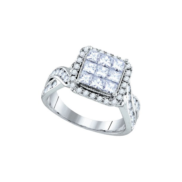 14kt White Gold Womens Princess Diamond Cluster Bridal Wedding Engagement Ring 1-5/8 Cttw