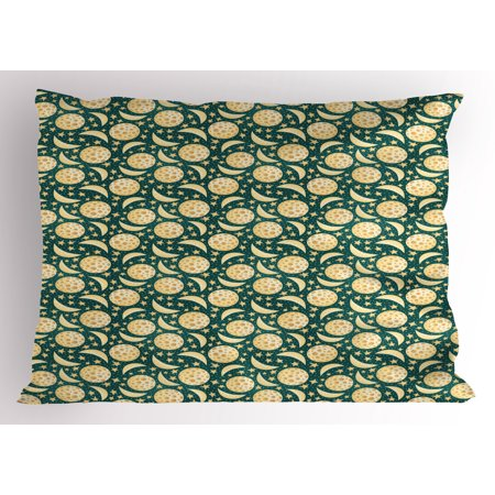 Moon Pillow Sham Moons Covered with Craters Little Dots and Stars Celestial Cartoon Meteorology, Decorative Standard King Size Printed Pillowcase, 36 X 20 Inches, Jade Green Yellow, by Ambesonne - King Jaffe