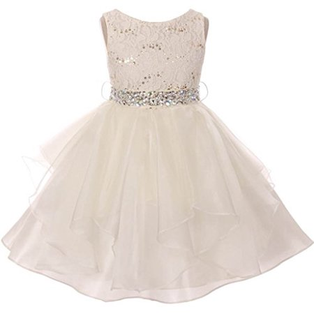 56ce5ed67 BNY Corner - Big Girl Flower Girl Dress Sequin Lace Top Rhinestone Belt & Ruffle  Skirt Ivory 8 MBK357 - Walmart.com