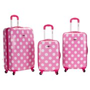 3 PC LAGUNA BEACH POLYCARBONATE/ABS UPRIGHT LUGGAGE SET - PINKDOT