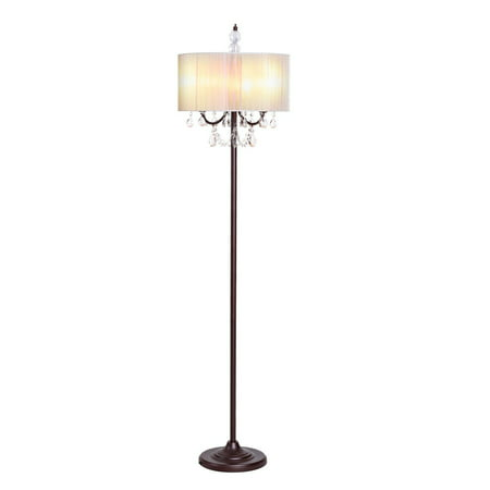 German Crystal Lamp - Gymax Elegant Design Sheer Shade Floor Lamp Light w/ Hanging Crystals LED Bulbs