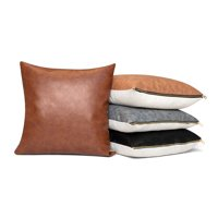 "Better Homes & Gardens Pebble Faux Leather and Linen Blend Reversible, Decorative Throw Pillow, 20""x20"""
