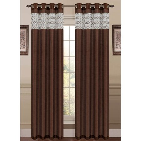 - Felicity Embroidered Faux Silk Extra Wide 54 x 84 in. Grommet Curtain Panel