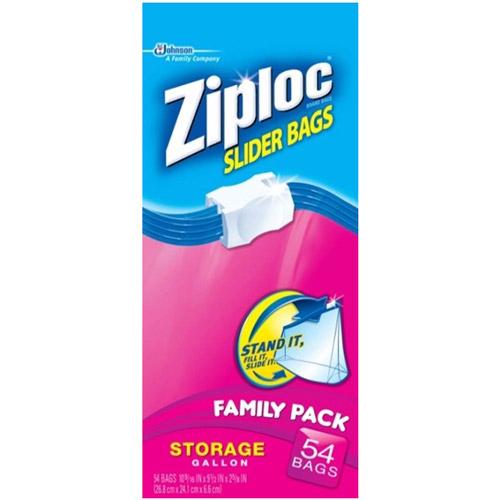 Ziploc Storage Slider Bags, Gallon, 54 count