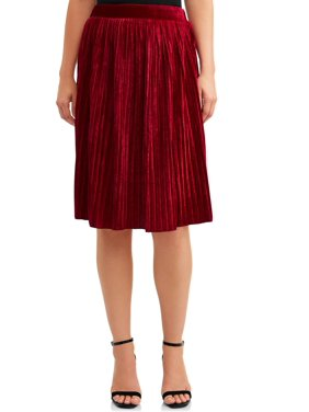 Women's Velvet Pleated Skirt