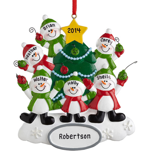 Personalized Snowman Family Ornament, 6