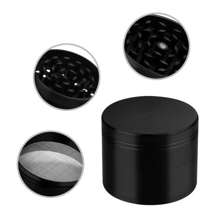 GPCT [Stainless Steel] Herb Spice Grinder. 4.9 CM Tall, 4 Pieces, 3 Chambers, Pollen Catcher, Stive Scraper Included [Durable] Zinc Alloy Magnetic Top - Black - Silver And Black