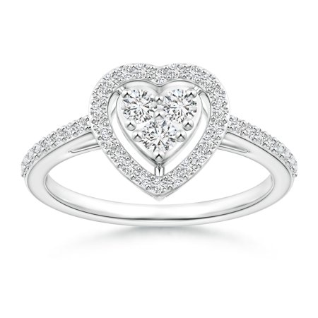 April Birthstone - Halo Diamond Heart Promise Ring with Prong Setting in Platinum (Weight: 0.21ctwt)