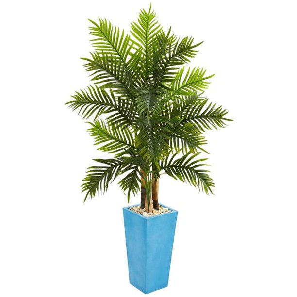 Nearly Natural 5648 5 5 Ft Areca Palm Artificial Tree In Turquoise Planter Walmart Com Walmart Com