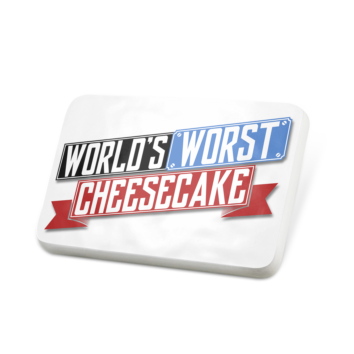 Porcelein Pin Funny Worlds worst Cheesecake Lapel Badge – NEONBLOND