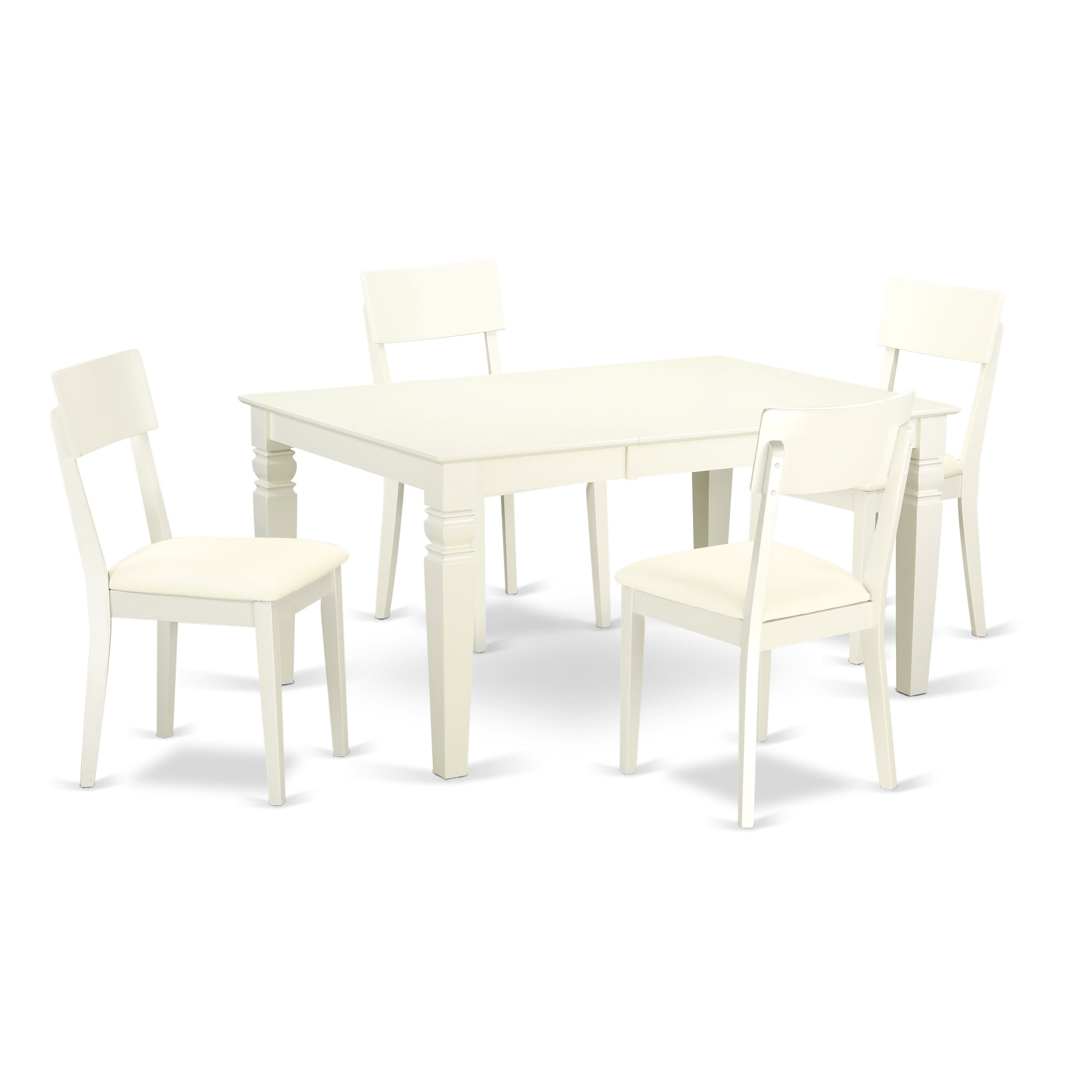 Exceptionnel East West Furniture Weston 7 Piece Extending Dining Table Set With Faux  Leather Seat Chairs   Linen White