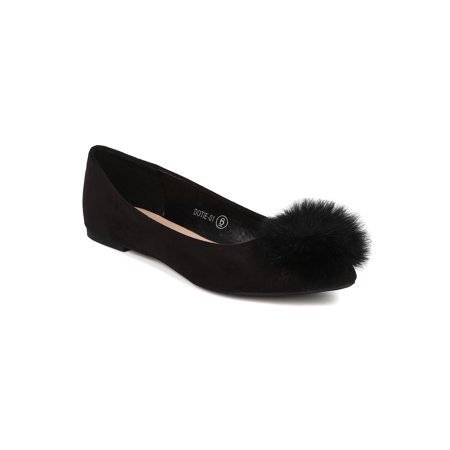 - New Women Refresh Dotie-01 Faux Suede Pointy Toe Pom Pom Ballet Flat