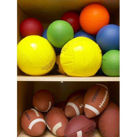 Football Shelf (Colorful Balls and Footballs Arranged on Shelves of Wooden Storage Closet Print Wall Art)