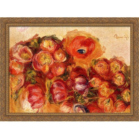 Study Of Flowers Anemones And Tulips 38x28 Large Gold Ornate Wood