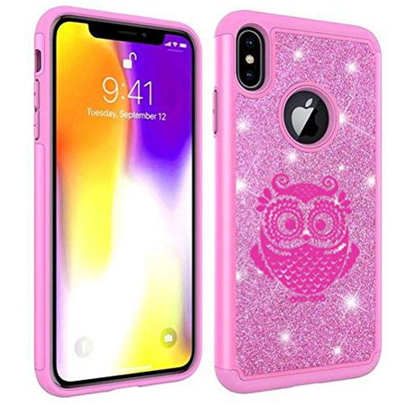 Glitter Bling Sparkle Shockproof Protective Hard Soft Case Cover for Apple iPhone Owl Vintage (Pink, for Apple iPhone 6 Plus/iPhone 6s Plus)
