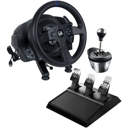 Thrustmaster 4169072 PS4 T300 Wheel, 4060059 TH8A Add-On Gearbox Shifter  and 4060056 T3PA Wide 3-Pedal Set