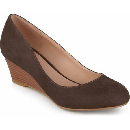Taupe Suede Footwear (Womens Stacked Wood Heel Classic Faux Suede)