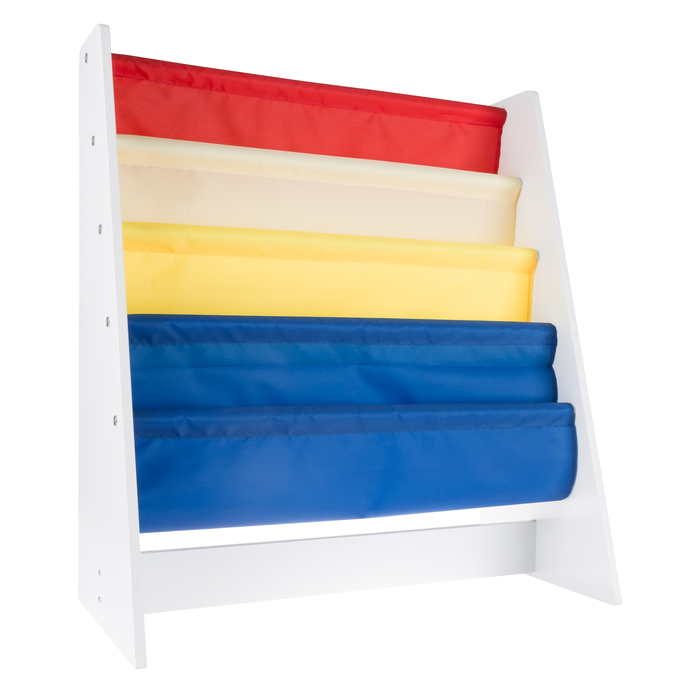 Hey! Play! Kids Book Rack 4-Tier, White Wood with Multple Colors