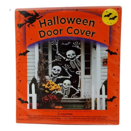 Halloween Door Cover 30 x 72 Friendly Skeletons - Double Door Halloween