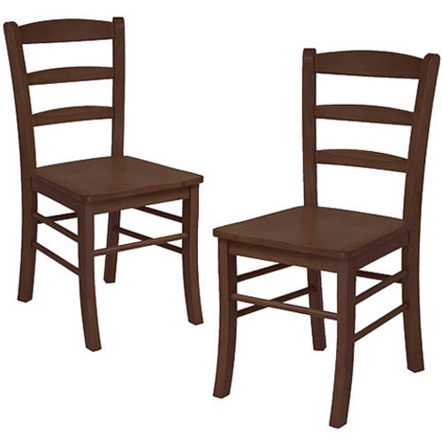 Ladder Back Chairs Set of 2, Antique Walnut by Winsome