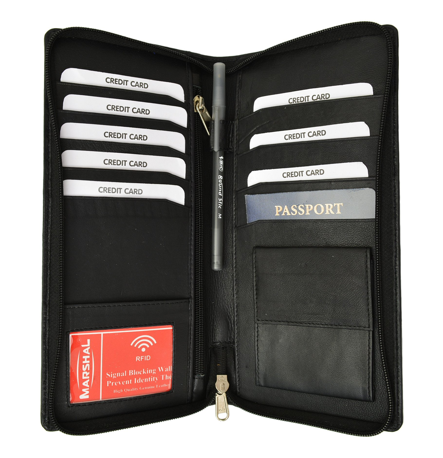 Marshalwallet RFID Premium Leather Zipper Travel Credit Card Passport Wallet RFID P 663 Black
