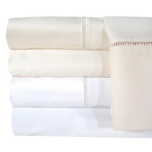 Veratex Egyptian Cotton Linford Hemstitch 1200 Thread Count Pillowcases (Set of 2) (Standard -Ivory), Beige Off-White