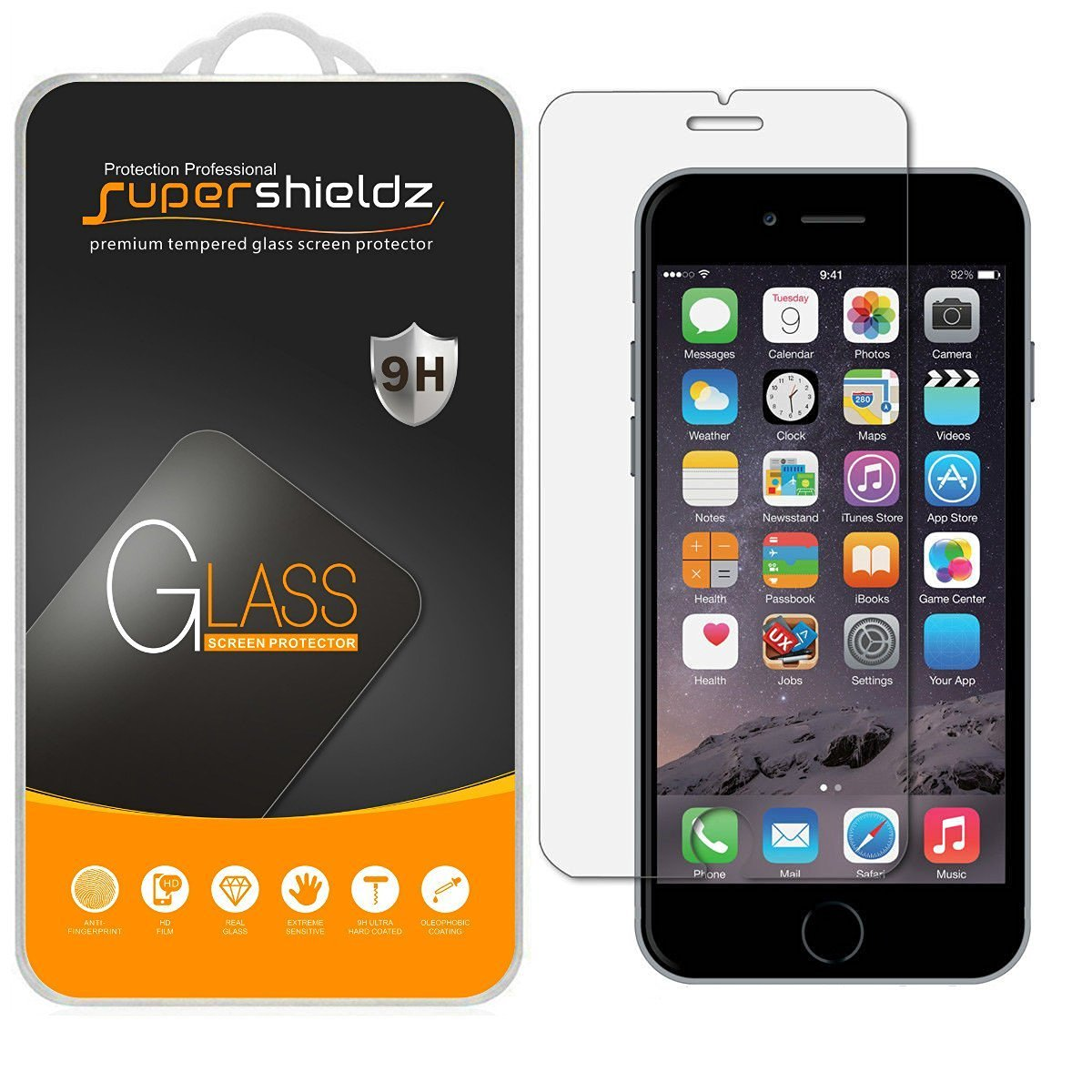 [2-Pack] Supershieldz Apple iPhone 6 Plus / 6S Plus Tempered Glass Screen Protector, Anti-Scratch, Anti-Fingerprint, Bubble Free