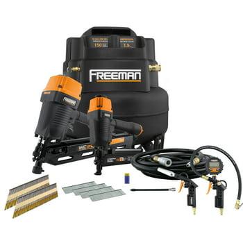 Freeman 6-Gallon Air Compressor Bundle w/ 2 Nailers + Free Blow Gun Kit