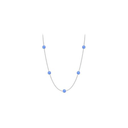 Diamonds The Yard Blue Diffuse Sapphires Necklace on 14K White Gold Bezel Set 10.00 ct.tw