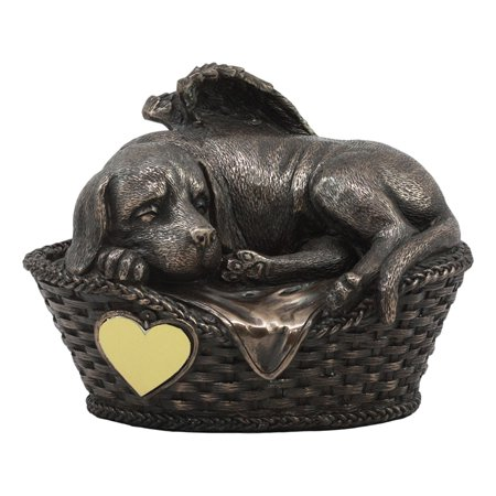 Black Labrador Retriever Figurine - Ebros Heavenly Angel Labrador Dog Sleeping In Wicker Bed Basket Cremation Urn Pet Memorial Statue All Dogs Got To Heaven Inspirational Figurine Labrador Retriever Sculpture