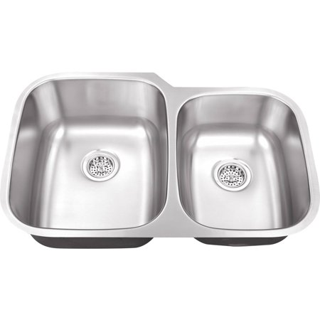 Double Bowl Kitchen - Magnus Sinks 32-in x 20-3/4-in 18 Gauge Stainless Steel Double Bowl Kitchen Sink